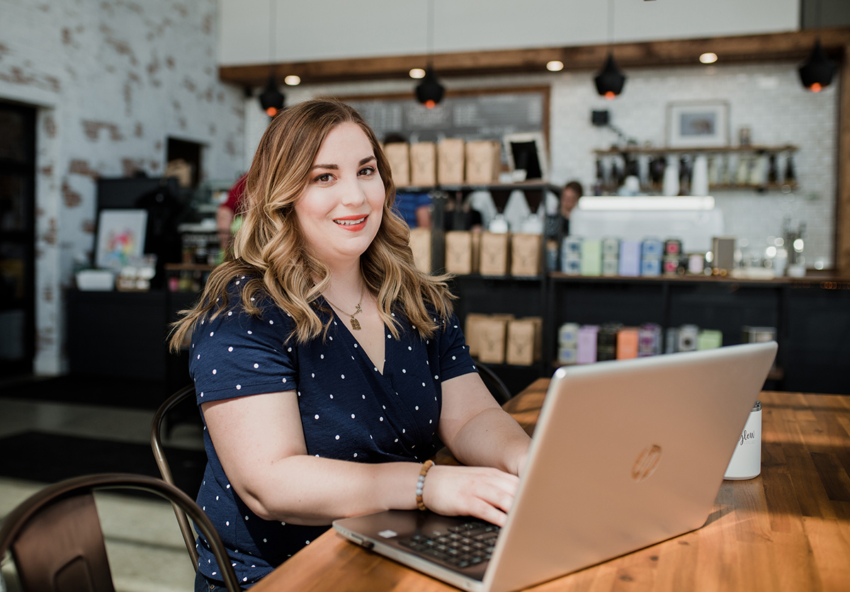 Shannon Boyne on a Laptop